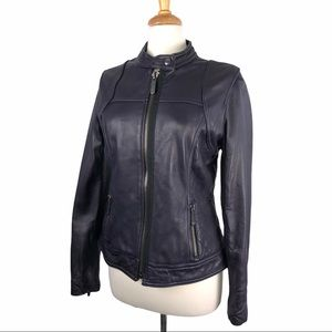 Michael Kors Purple Side Quilted Leather Jacket